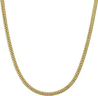 Memoir Gold plated thin Round body Snake design short length Fashion chain Women Men (18 Inch)