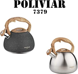Poliviar Tea Kettle, 2.7 Quart Natural Stone/Sliver Ti with Wood Pattern Handle Loud Whistle Food Grade Stainless Steel Teapot, Anti-Hot Handle and Anti-Rust, Suitable for All Heat Sources
