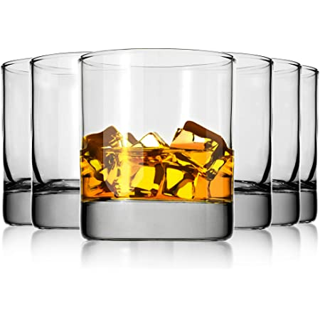 Whiskey Glasses Set of 6,Premium 11 OZ Scotch Glass,Drinking Glassware,Short Glasses,Rock Style Old Fashioned Whiskey Glass Tumbler for Scotch, Cocktail, Liquor, Home Bar Whiskey Gifts for Men