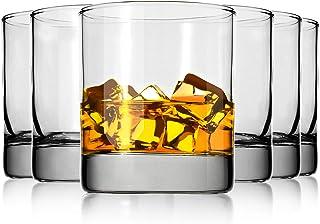 Whiskey Gl Set of 6,Premium 11 OZ Scotch Glass,Drinking Glassware,Short Gl,Rock Style Old Fashioned Whiskey Glass Tumbler ...