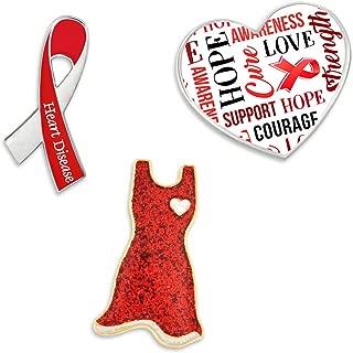Red Heart Disease Awareness Ribbon Enamel Lapel Pin Set