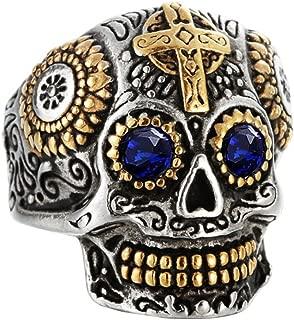 Men's Stainless Steel Silver Gold Gothic Cross Skull Ring Green Eye Vintage Flower Carved Halloween