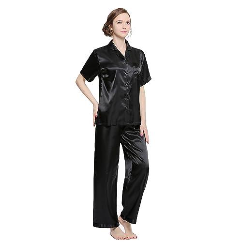 001fdec8ad SunRise Women s Short Sleeve Classtic Satin Pajama Set