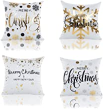 DGQ Christmas Pillows Covers Decorative 18x18 Inch Set of 4 Cotton Snowflakes Gold Print Merry Christmas Decorative White Throw Pillow Case Covers
