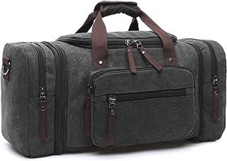 LOSMILE Canvas Reisetasche,Weekender Tasche Sporttasche Handgepäck für Damen und Herren mit der Großen Kapazität. Schwarz