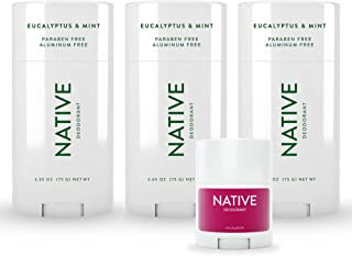 Best Native Deodorant - Natural Deodorant For Men And Women - 3 Pack of Eucalyptus & Mint and 1 Free Mini Bar of Blackberry & Green Tea - Contains Probiotics - Aluminum Free & Paraben Free, Naturally Derived Ingredients Review