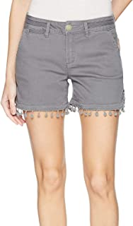JAG Jeans Womens Gray US Size 8 Shorts Stretch Relaxed Fit Pom-Pom Trim