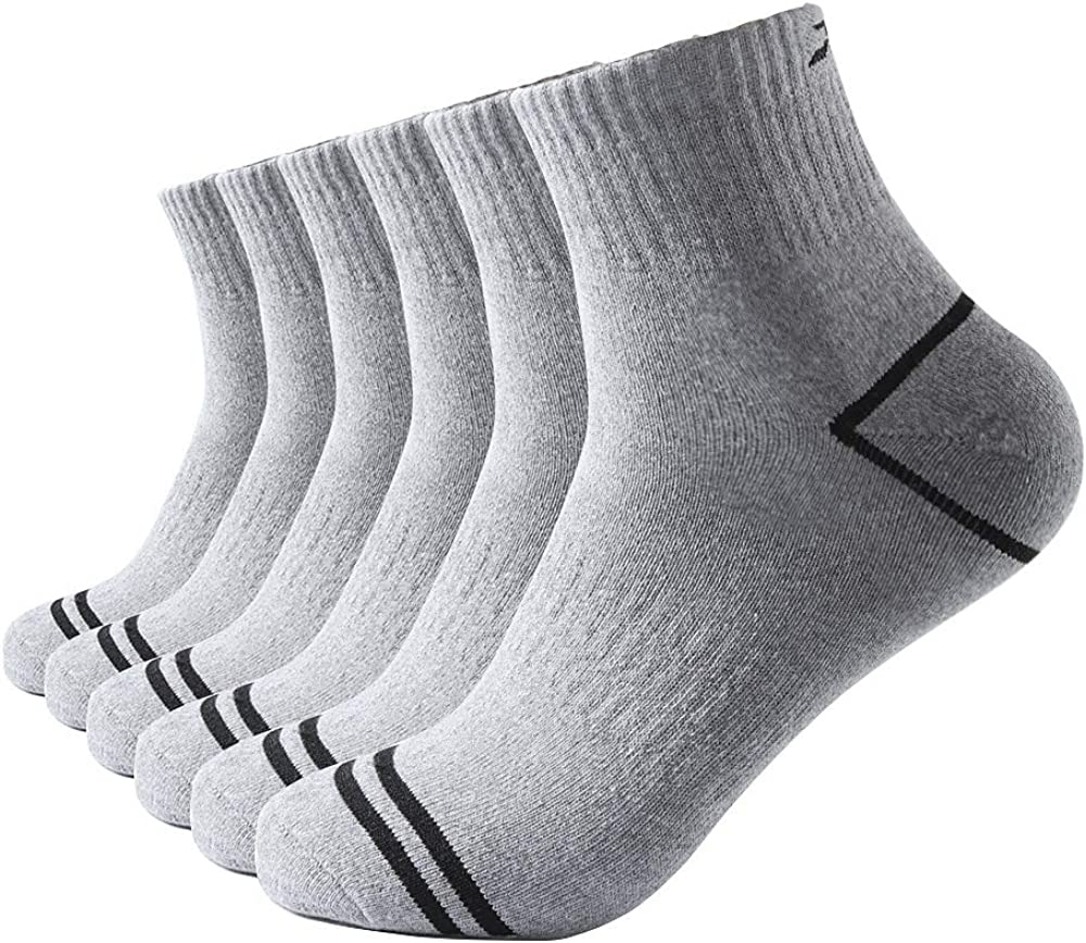 RSZ Men's Cotton Moisture Wicking Control Heavy Cushion Ankle Low Cut Running Socks