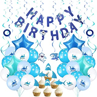 Beauenty 49 PCS Baby Shark Balloons Party Supplies for Baby Birthday Decorations Kids