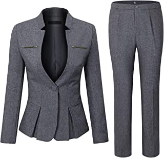 Women's Elegant Business 2 Piece Office Lady Suit Set Work Blazer Pant