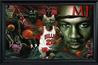 Michael Jordan Wall Art Decor Framed Print   36x24 Premium (Canvas/Painting Like) Textured Poster   NBA Basketball Ultimate Greatest of All Time Prints   Memorabilia Gifts for Guys & Girls Bedroom
