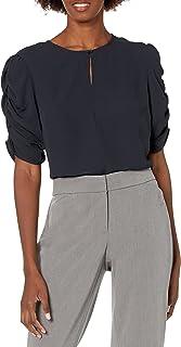 Marca Amazon - Lark & Ro - Blusa con mangas fruncidas para mujer