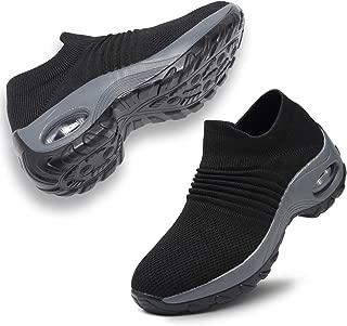 ANLUKE Women's Walking Shoes Slip On Sock Sneakers Mesh Knit Athletic Wedge Platform Loafers