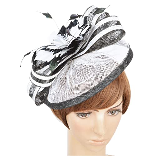 AM CLOTHES Womens Formal Party Fascinator Hat with Headband for Cocktail  Black Ivory 289964e0d43