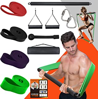 DASKING Portable Home Gym Resistance Bar Set with 4 Resistance Levels, 300LBS Heavy Loading Full Body Workout Equipment We...