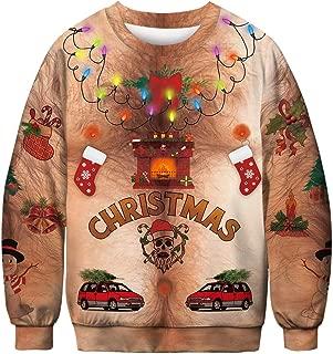 Men and Women Christmas Casual Pullover Autumn Winter 3D Print Long Sleeve O-Neck Sweatshirt Blouse