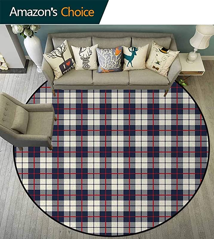 Abstract Modern Washable Round Bath Mat Colorful Stripes Square Shaped Geometric Line Checkered Artsy Pattern Non Slip Bathroom Soft Floor Mat Home Decor Diameter 24 Inch Egg Shell Red Dark Blue