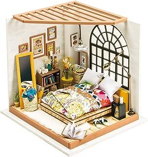 Robotime ドールハウス 3Dパズル ミニチュア DIY 木製 LED付き ガーデン キッチン ベッドルーム 子供 おもちゃ-ベッドルーム