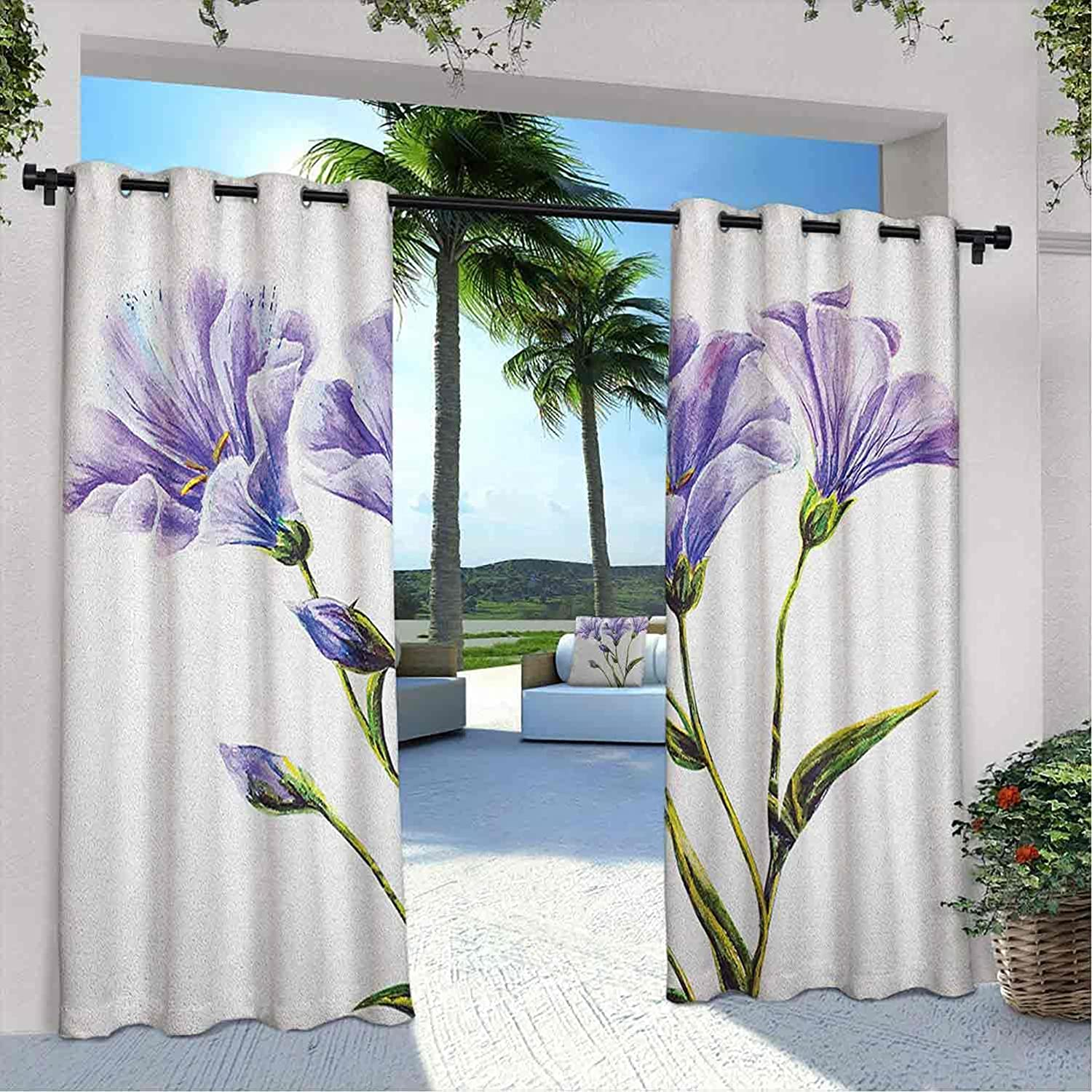 Outdoor Pavilion Watercolor Direct store Flower Wild Outlet SALE Drawing Curtain Flowers
