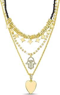 Steve Madden Rhinestone Hamsa Star Simulated Pearl Yellow Heart 3 Row Black Beaded Layered Chain Necklace for Women