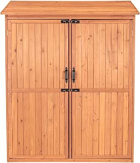 Wooden Storage Shed. Outdoor Storage Shed. 5 ft. W x 2.5 ft. D Solid Wood Lean-to Storage Shed, Acrylic Protective Coating, 4 Pull Out Crates, Medium Brown