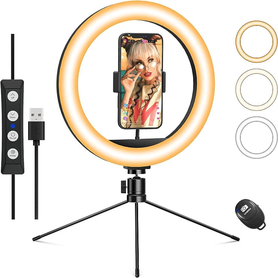"""Ringlicht mit Stativ Handy, 10.2"""" LED Selfie Ringleuchte mit Handyhalter, Tischringlicht mit Fernbedienung 3 Farbe und 10 Helligkeitsstufen für Selfie/Tik Tok/YouTube/Make-up/Live-Streaming/Vlog"""