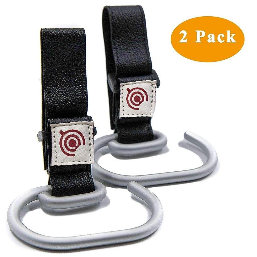 2 Pack Baby Stroller Hooks Universal Bags Clips  Durable Aluminum Stroller Holders for Attaching Shopping Bag, Diaper Changing Bag