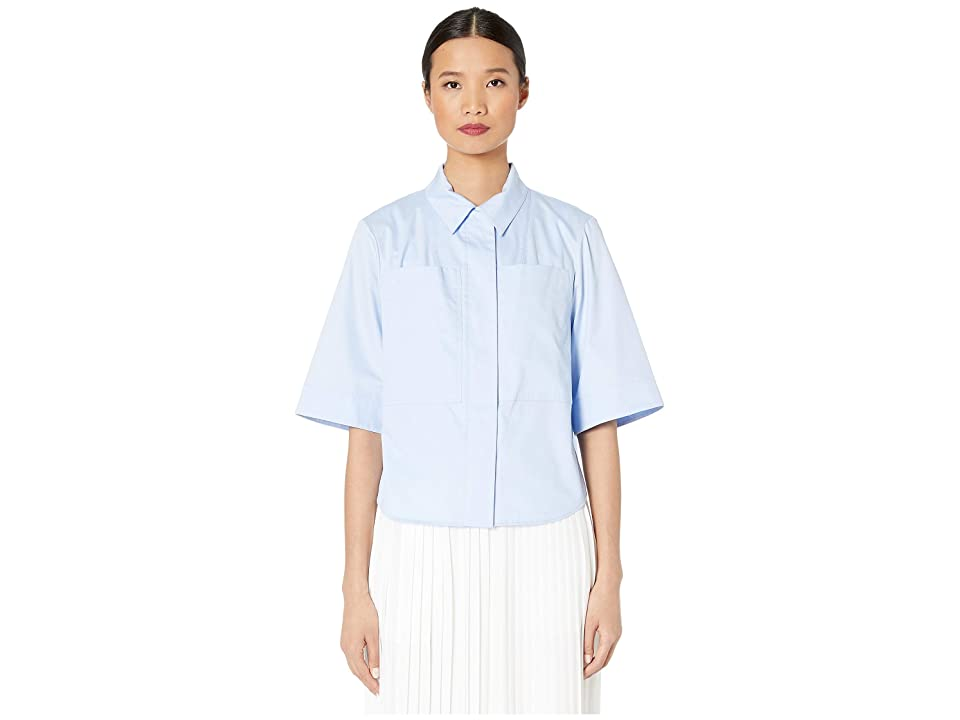 Image of Adam Lippes Cotton Poplin Safari Shirt w/ Box Pleat (Pale Blue) Women's Clothing