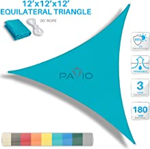 PATIO Paradise 12' x 12' x 12' Turquoise Green Sun Shade Sail Equilateral Triangle Canopy - Permeable UV Block Fabric Durable Outdoor - Customized Available