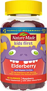 Nature Made Kids First Elderberry Gummies with Vitamin C and Zinc, Helps Kids Immune Support, Raspberry, 40 Count