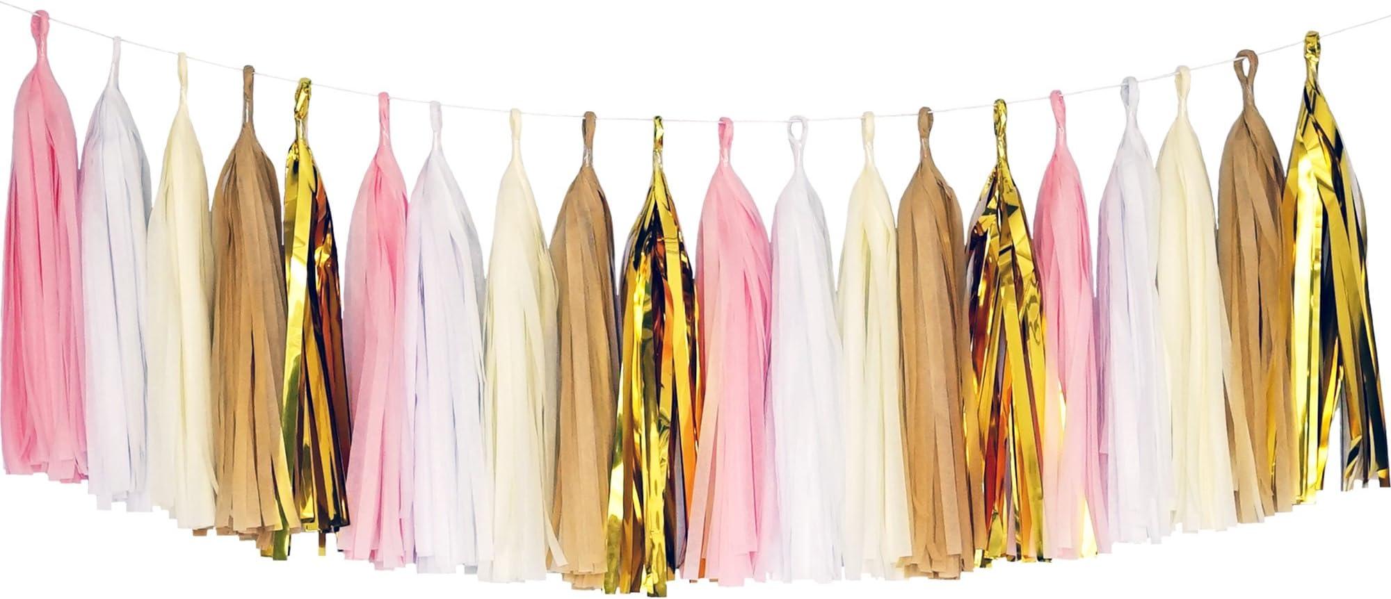 Tissue Paper Tassel Garlands 5 Carnation Pink Tassel Garlands DIY KIT Birthday Baby Shower Wedding Party Same Day Shipping