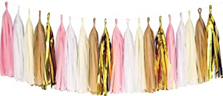 Tissue Paper Tassel DIY Party Garland Decor for All Events & Occasions - 20 Tassels Per Package (Pink-White-Ivory-Tan-Gold Mylar)