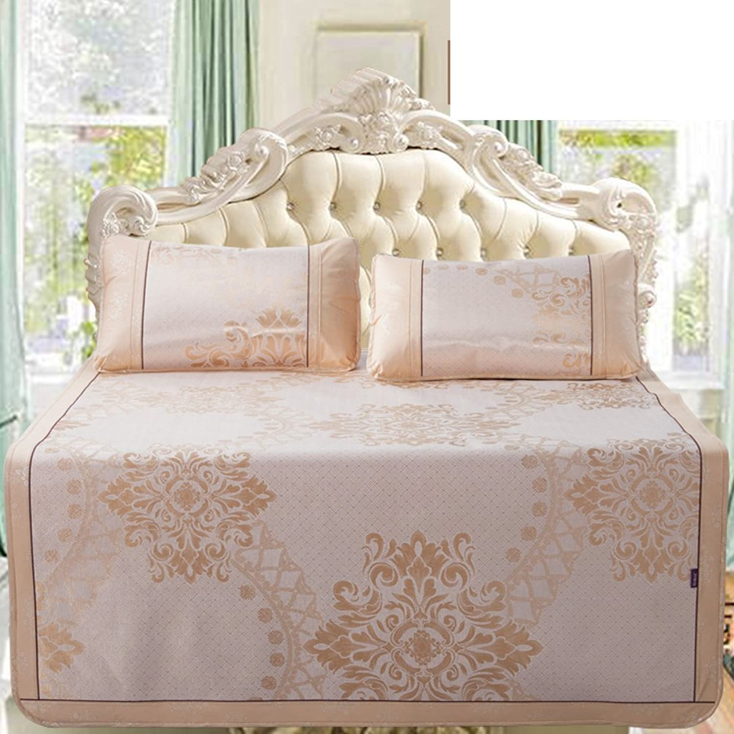 Summer Ice Silk Seats Three Sets Double Folding Air Conditioning Soft Seat(1 Mat+2 Pillowcase)-L Queen1