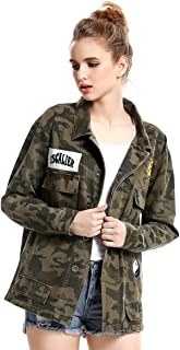 Escalier Women's Military Camo Jacket Zipper Causal Camoflage Utility Coat
