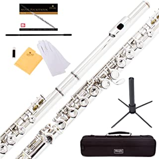 Mendini Closed Hole C Flute with Stand, 1 Year Warranty, Case, Cleaning Rod, Cloth, Joint Grease, and Gloves (Silver Plated)