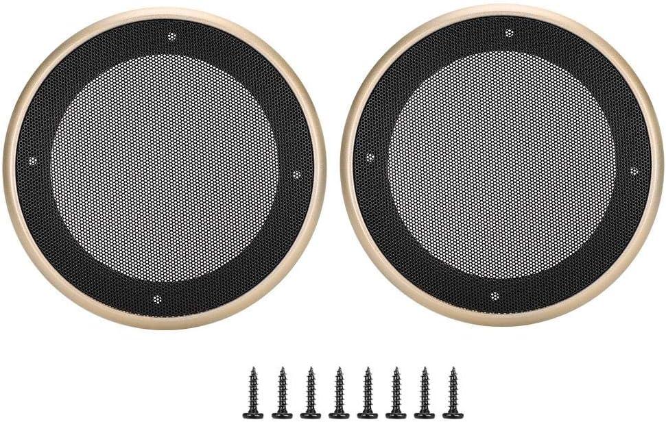 2 pcs 5 inch Speaker Grills Audio Speaker Cover Decorative Circle Protective Metal Mesh Cover Gold+black