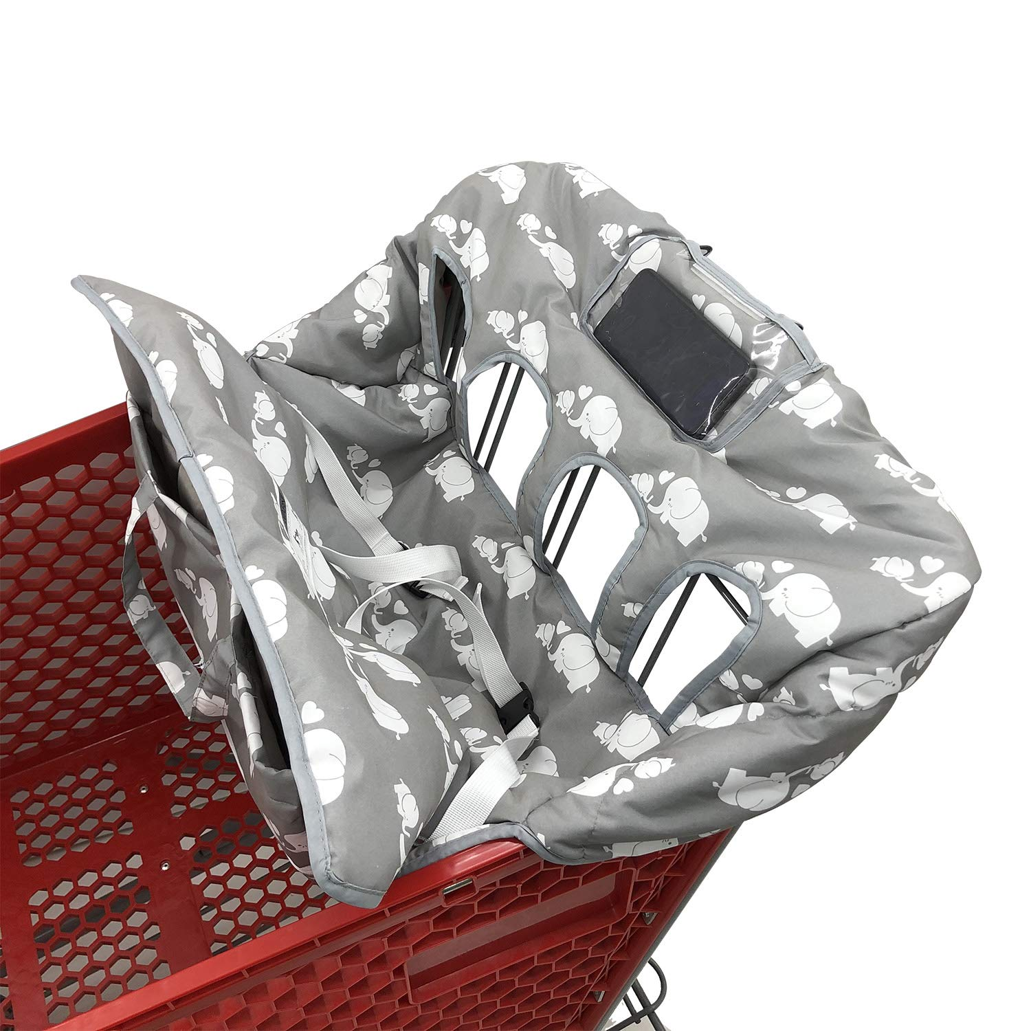 Twin Double Shopping Cart Cover for Baby Siblings with Carrying Case. Fit Wholesale Warehouse Grocery Stores Like Costco SAMS Club (White Elephant)