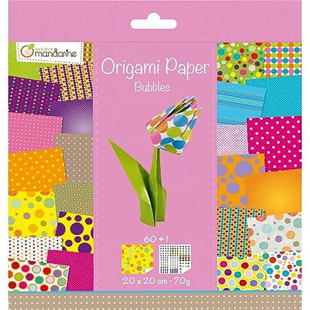 Avenue Mandarine 52506O - Un paquet de 60 feuilles Origami 20x20 cm 70G (30 motifs x 2 feuilles) et une planche de stickers incluse, Bubbles