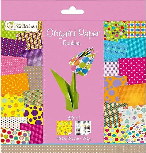 Avenue Mandarine 52506O - Un paquet de 60 feuilles Origami 20x20 cm 70G (30 motifs x 2 feuilles) et une planche de st...