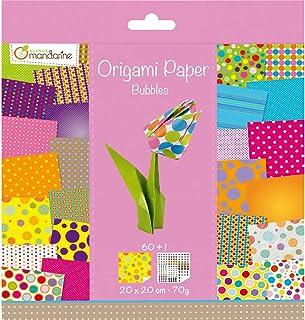 Avenue Mandarine 52506O - Un paquet de 60 feuilles Origami 20x20 cm 70G (30 motifs x 2 feuilles) et une planche de sticker...