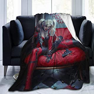 Net Method Clown Girl Harley Quinn Flannel Blanket Super Soft and Comfortable Fuzzy Luxury Warm Plush Microfiber Blanket S...