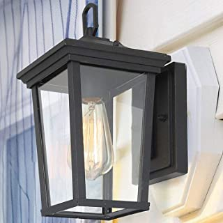 LALUZ Outdoor Wall Sconce Farmhouse Exterior Light Fixtures with Clear Glass for Entryway, Yards, Front Porch, A03278S,