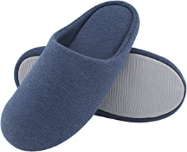 ULTRAIDEAS Men's Comfort Knitted Cotton Slippers Washable Flat Closed Toe Ultra Lightweight Indoor Shoes with Non-Slip Sole