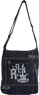 Sunsa Damen Hobo Tasche/Umhängetasche, aus Canvas. Nachhaltige Produkte, Groß Stoff Crossbody Bag, schwarze Schultertasche...
