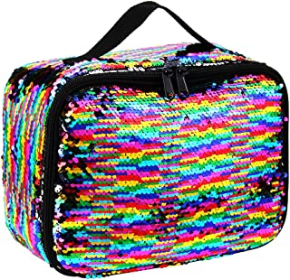 Sequin Lunch Box, Reversible Sequin Flip Color Change, Insulated, Quick and Simple Organization, Perfect for Working Women or Kids (Rainbow)