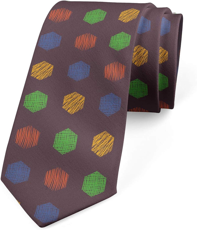 Ambesonne Men's Tie, Hand Drawn Hexagons, Necktie, 3.7