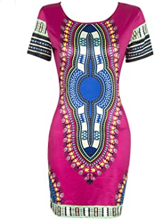 Women Traditional African Print Dashiki Bodycon Plus Size Short Sleeve Dress