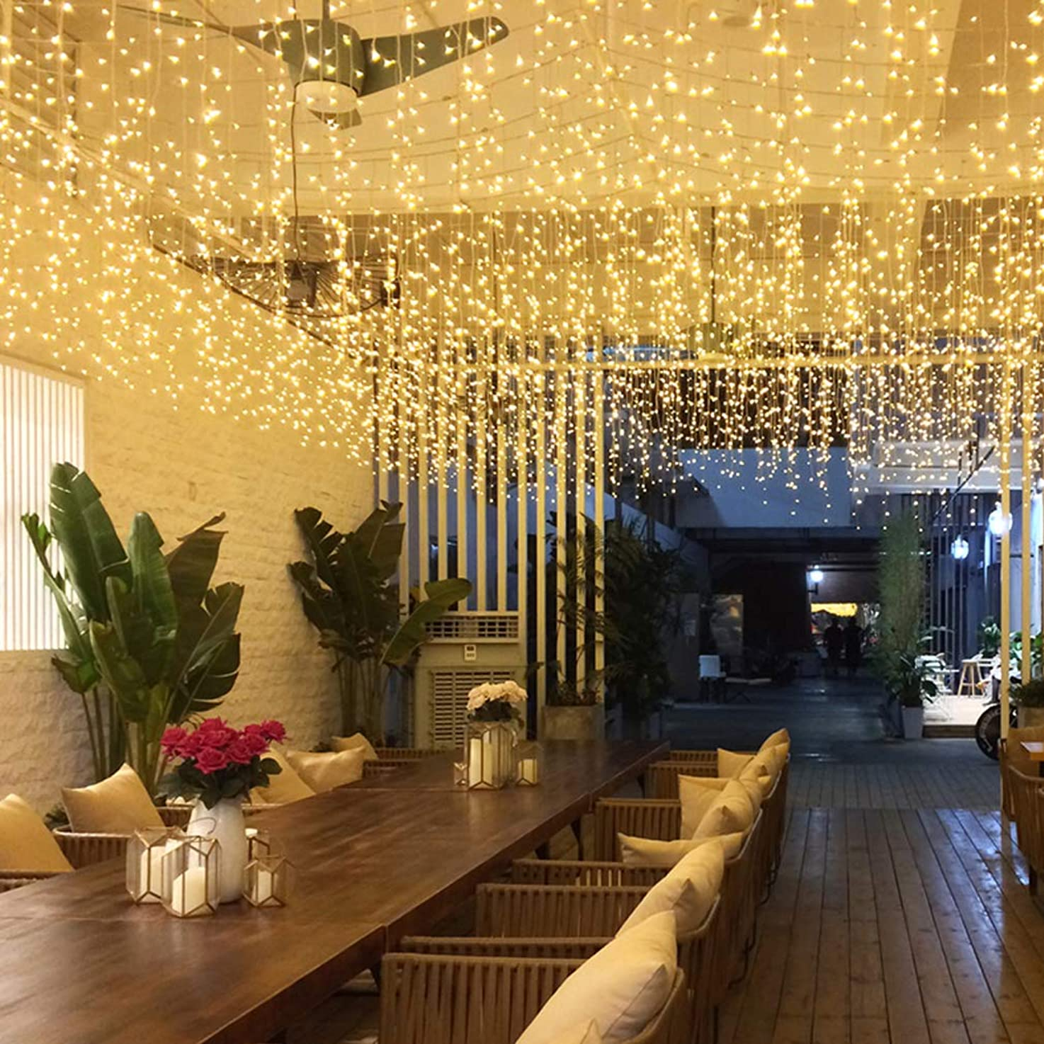 GYDING LED Window Curtain String Lights, Christmas Lcicle Lights 5M/16.4Ft 216 LED Starry Fairy String Lights Plug in 8 Modes for Wedding Party Bedroom Garden Patio Outdoor Indoor (Warm White, 5)
