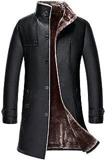 Mens Classic Winter Warm Sheep Skin Leather Coat Parka Lamb Wool Lined Jacket