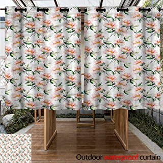 Sliding Door Curtain Dusty Rose Briar Flowers Watercolor Curtains for Living Room W 55